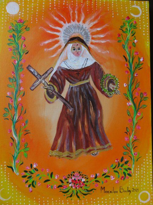 Marinilda Boulay, Santa Rita de Cássia, 2021. AST, 40 x 30 cm.